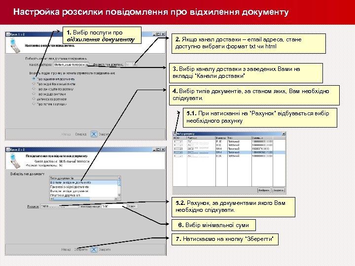 Настройка розсилки повідомлення про відхилення документу 1. Вибір послуги про відхилення документу 2. Якщо