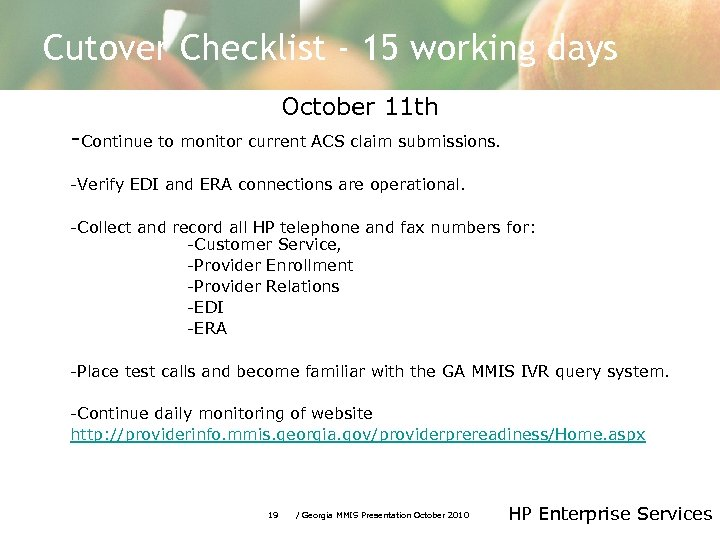 HP Enterprise Services Home Town Health Presentation October