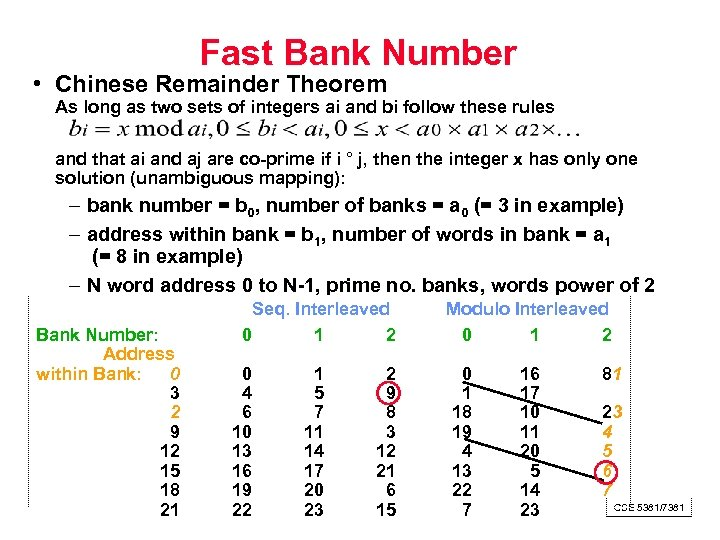 Fast Bank Number • Chinese Remainder Theorem As long as two sets of integers