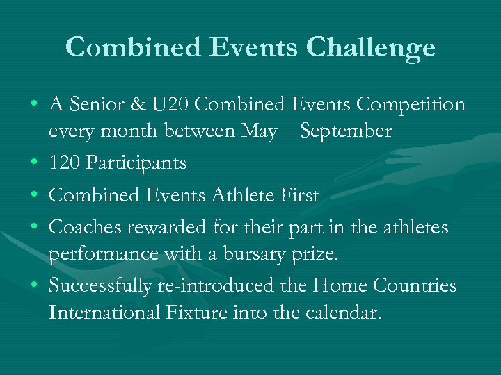 Combined Events Challenge • A Senior & U 20 Combined Events Competition every month