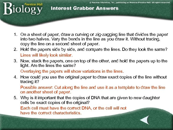 Interest Grabber Answers 1. On a sheet of paper, draw a curving or zig-zagging
