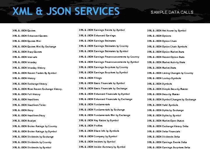 XML & JSON SERVICES SAMPLE DATA CALLS XML & JSON Quotes XML & JSON