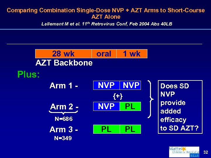 Comparing Combination Single-Dose NVP + AZT Arms to Short-Course AZT Alone Lallemant M et