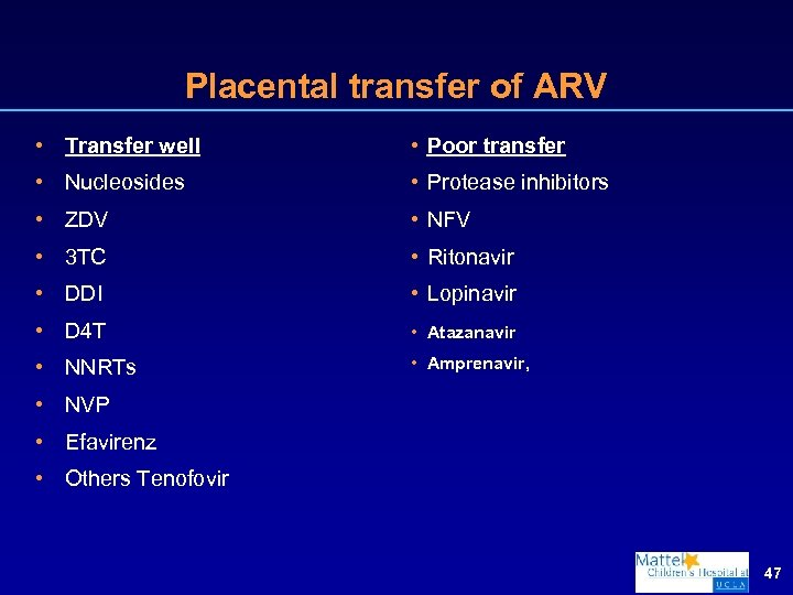 Placental transfer of ARV • Transfer well • Poor transfer • Nucleosides • Protease