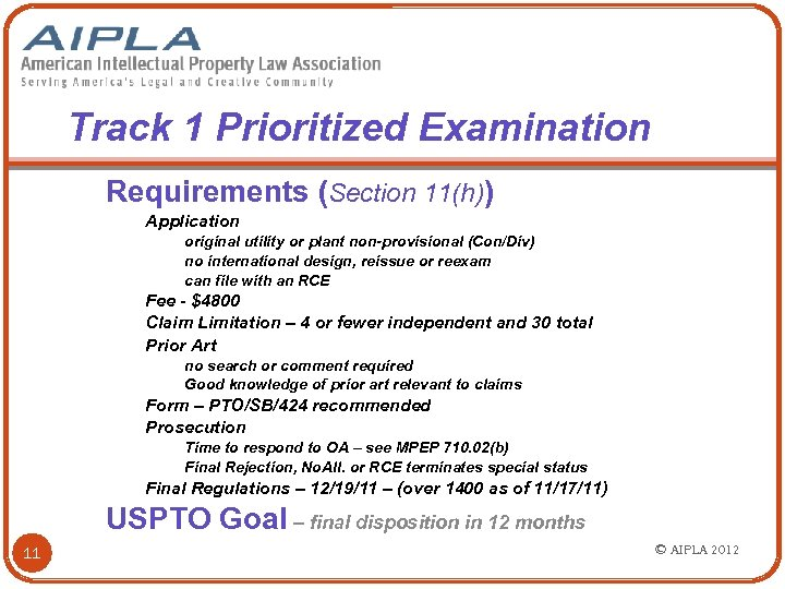 Track 1 Prioritized Examination Requirements (Section 11(h)) Application original utility or plant non-provisional (Con/Div)