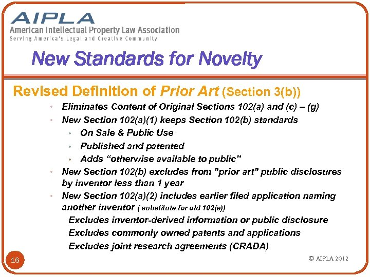 New Standards for Novelty Revised Definition of Prior Art (Section 3(b)) Eliminates Content of