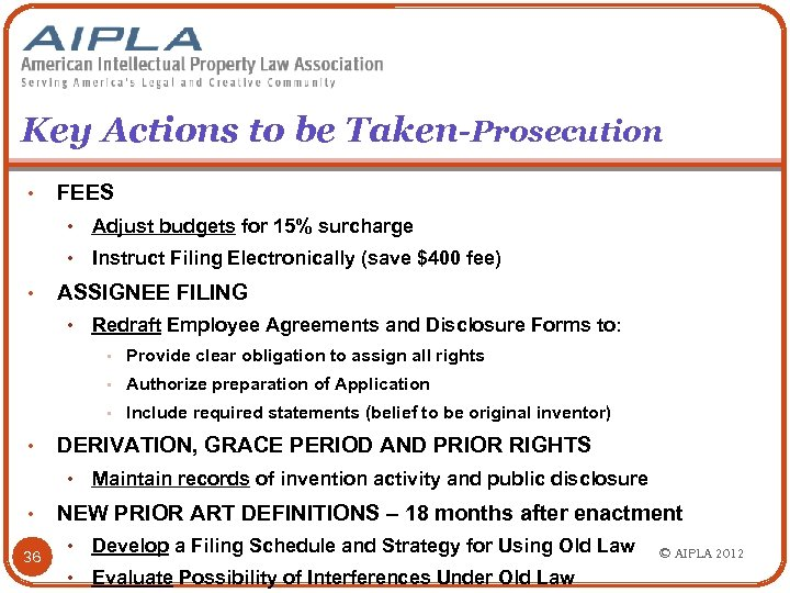 Key Actions to be Taken-Prosecution • FEES • • • Adjust budgets for 15%
