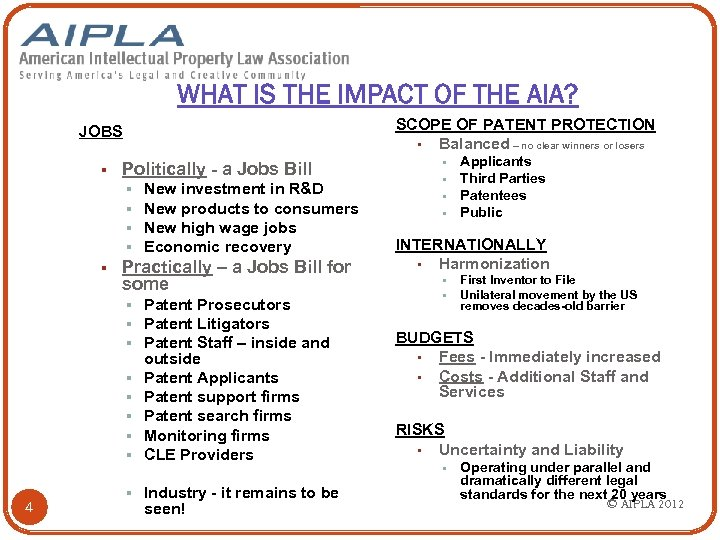 WHAT IS THE IMPACT OF THE AIA? SCOPE OF PATENT PROTECTION § Balanced –
