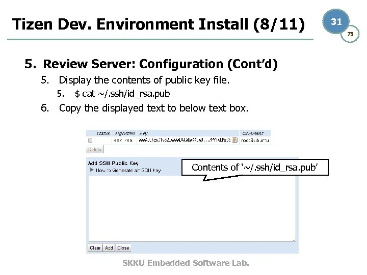 Tizen Dev. Environment Install (8/11) 5. Review Server: Configuration (Cont'd) 5. Display the contents