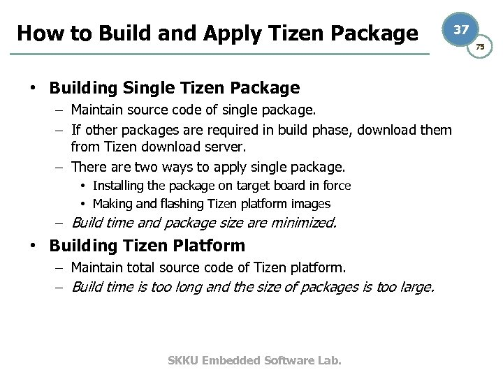 How to Build and Apply Tizen Package 37 • Building Single Tizen Package –