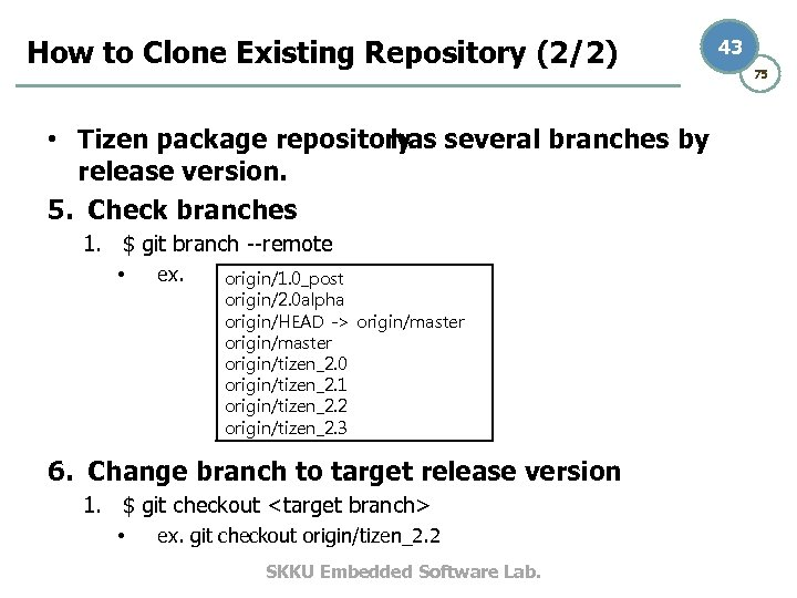 How to Clone Existing Repository (2/2) • Tizen package repository several branches by has