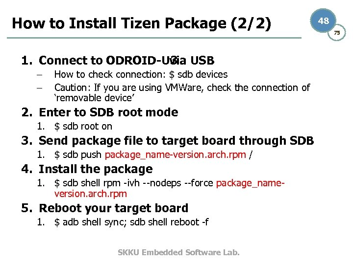 How to Install Tizen Package (2/2) 1. Connect to ODROID-U 3 USB via –