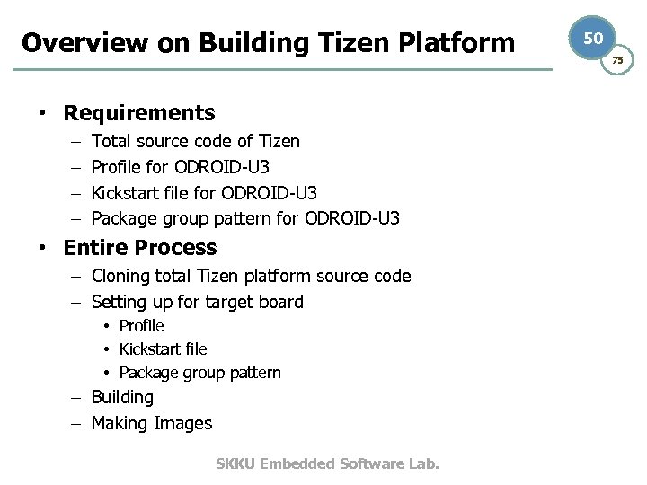 Overview on Building Tizen Platform • Requirements – – Total source code of Tizen