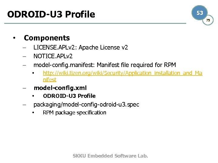 ODROID-U 3 Profile • 53 Components – – – LICENSE. APLv 2: Apache License