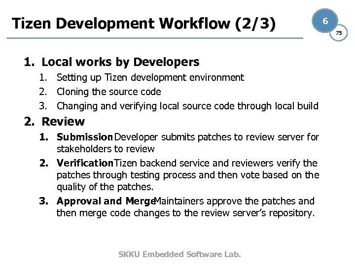 Tizen Development Workflow (2/3) 1. Local works by Developers 1. Setting up Tizen development