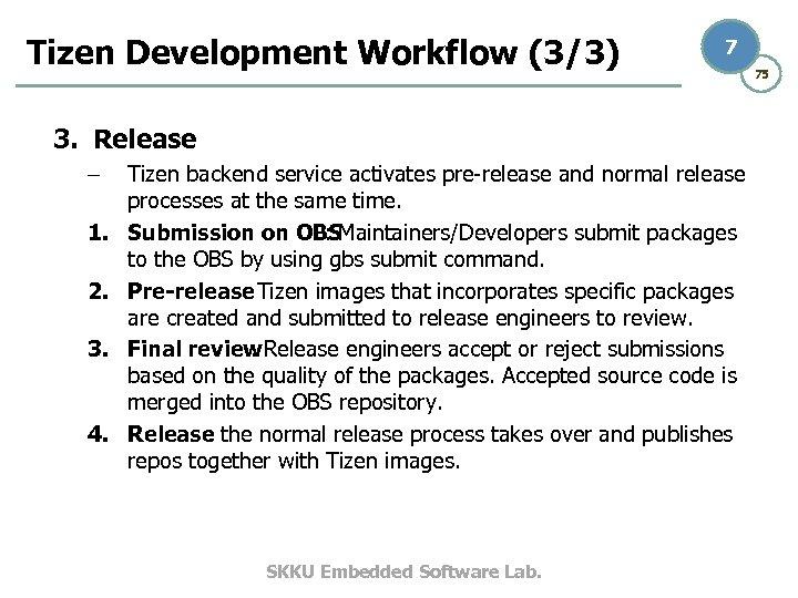 Tizen Development Workflow (3/3) 7 3. Release – 1. 2. 3. 4. Tizen backend