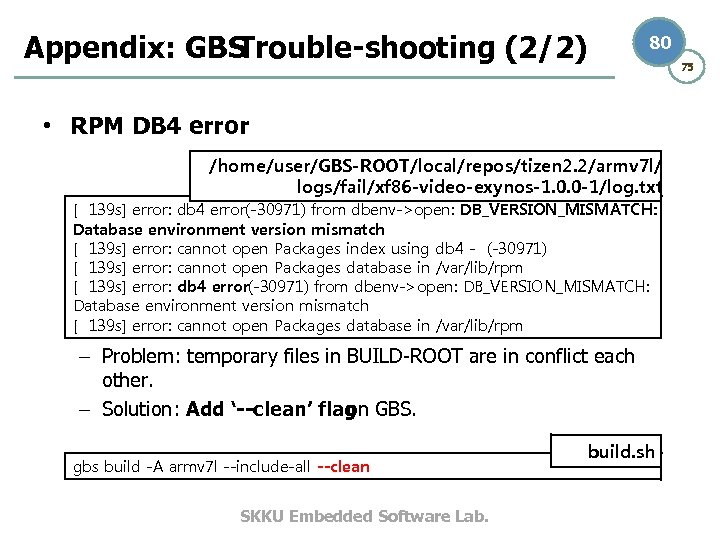 Appendix: GBS Trouble-shooting (2/2) 80 75 • RPM DB 4 error /home/user/GBS-ROOT/local/repos/tizen 2. 2/armv