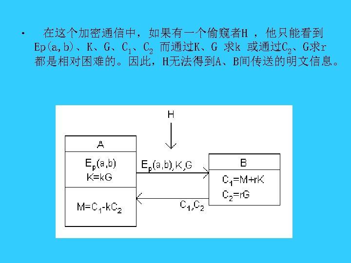 • 在这个加密通信中,如果有一个偷窥者H ,他只能看到 Ep(a, b)、K、G、C 1、C 2 而通过K、G 求k 或通过C 2、G求r 都是相对困难的。因此,H无法得到A、B间传送的明文信息。