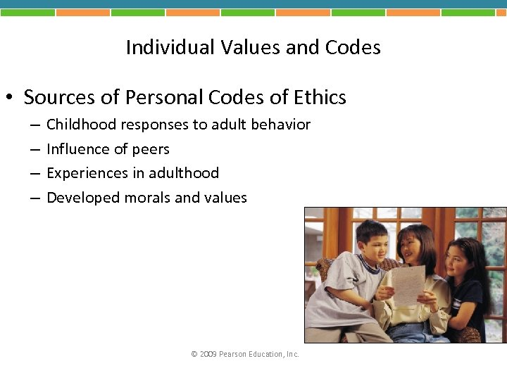 Individual Values and Codes • Sources of Personal Codes of Ethics – – Childhood