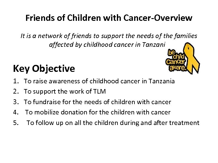 Friends of Children with Cancer-Overview It is a network of friends to support the