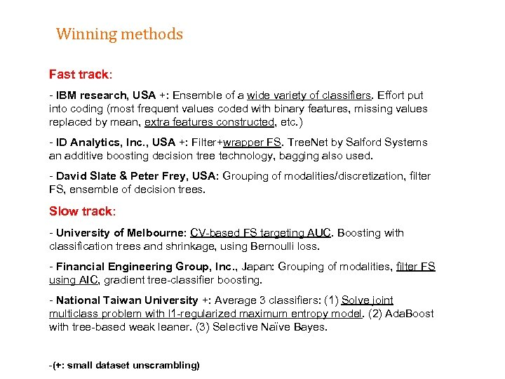 Winning methods Fast track: - IBM research, USA +: Ensemble of a wide variety