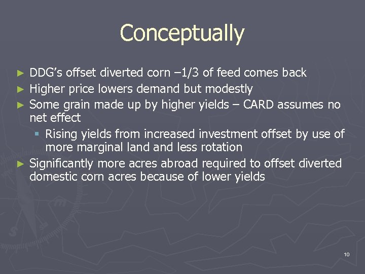 Conceptually DDG's offset diverted corn – 1/3 of feed comes back ► Higher price