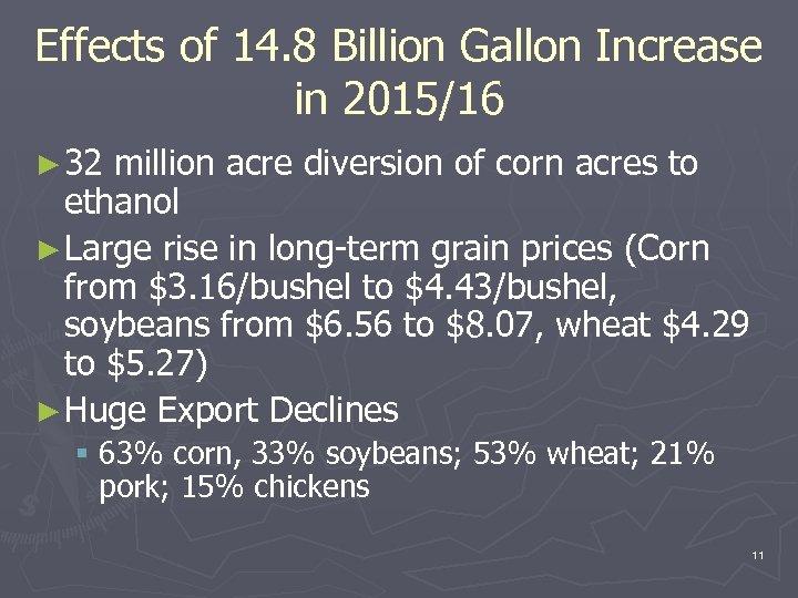 Effects of 14. 8 Billion Gallon Increase in 2015/16 ► 32 million acre diversion