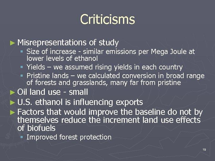 Criticisms ► Misrepresentations of study § Size of increase - similar emissions per Mega
