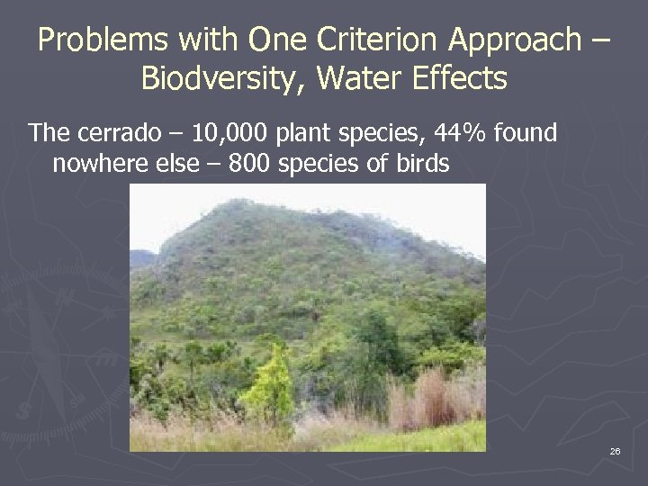 Problems with One Criterion Approach – Biodversity, Water Effects The cerrado – 10, 000