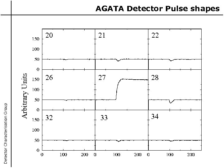 20 Arbitrary Units Detector Characterisation Group AGATA Detector Pulse shapes 21 22 26 27
