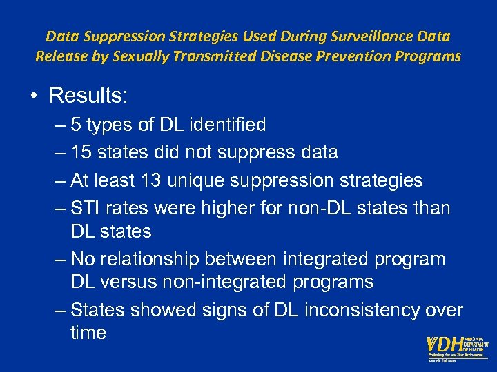 Data Suppression Strategies Used During Surveillance Data Release by Sexually Transmitted Disease Prevention Programs