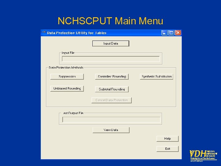 NCHSCPUT Main Menu