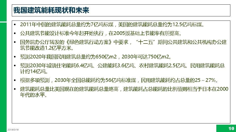 """我国建筑能耗现状和未来 • 2011年中国的建筑能耗总量约为 7亿吨标煤,美国的建筑能耗总量约为 12. 5亿吨标煤。 • 公共建筑节能设计标准今年起开始执行,在 2005版基础上节能率有所提高。 • 国务院办公厅转发的《绿色建筑行动方案》中要求,""""十二五""""期间公共建筑和公共机构办公建 筑节能改造 1. 2亿平方米。"""