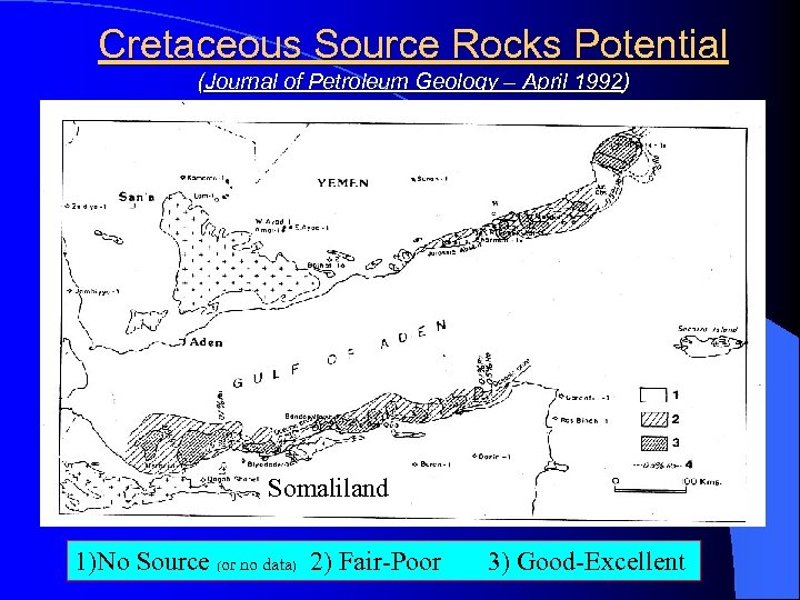 Cretaceous Source Rocks Potential (Journal of Petroleum Geology – April 1992) Somaliland 1)No Source