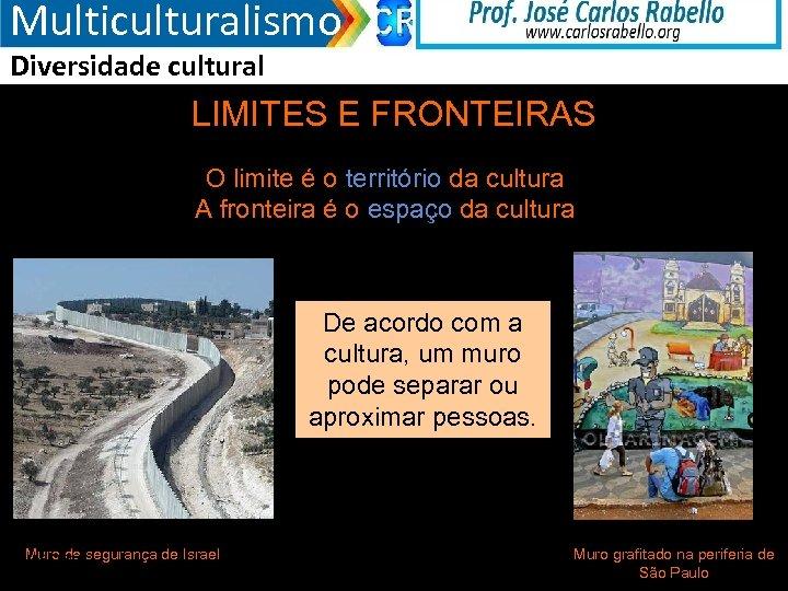 Multiculturalismo Diversidade cultural LIMITES E FRONTEIRAS O limite é o território da cultura A