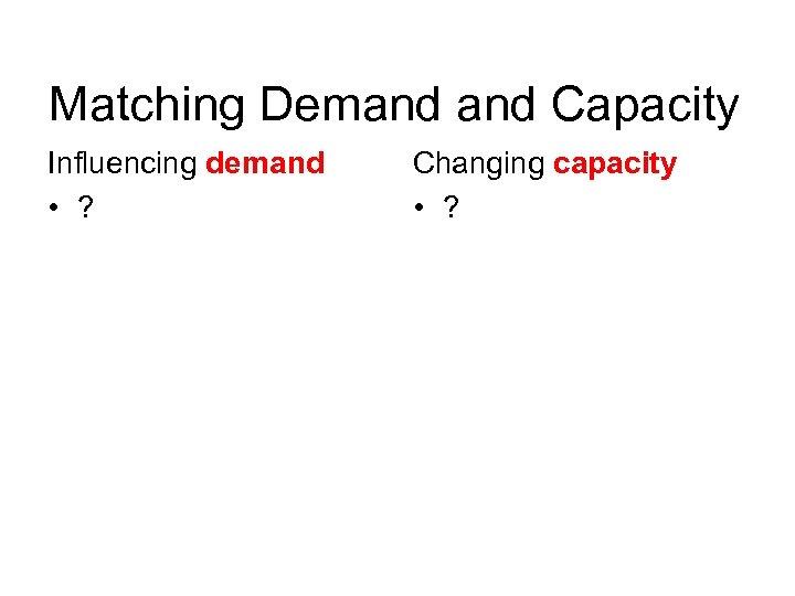 Matching Demand Capacity Influencing demand • ? Changing capacity • ?