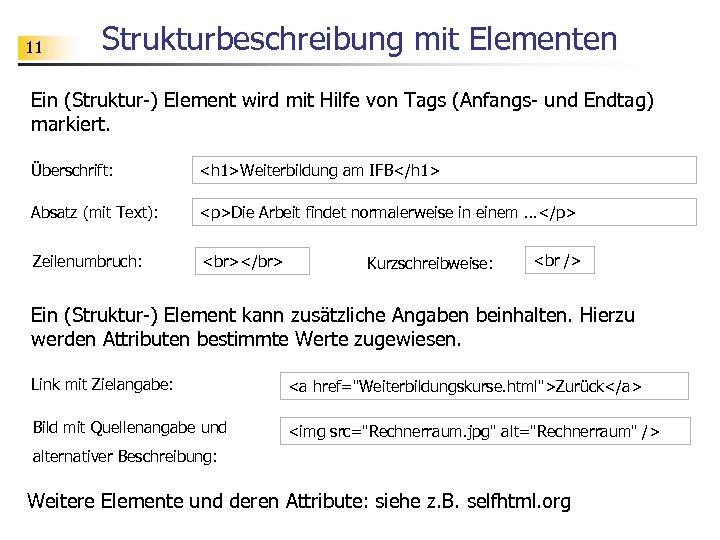 11 Strukturbeschreibung mit Elementen Ein (Struktur-) Element wird mit Hilfe von Tags (Anfangs- und