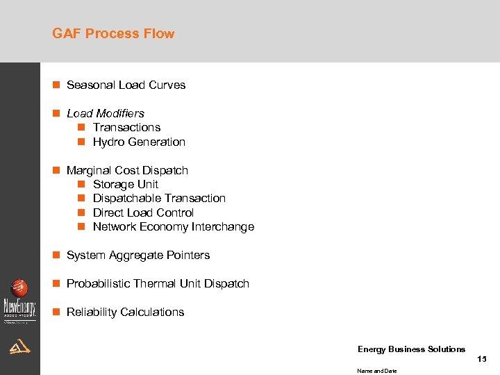 GAF Process Flow n Seasonal Load Curves n Load Modifiers n Transactions n Hydro
