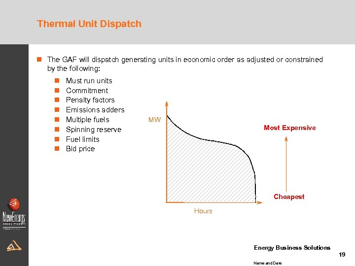 Thermal Unit Dispatch n The GAF will dispatch generating units in economic order as