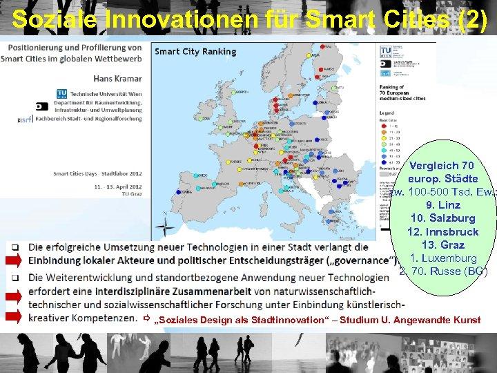 Soziale Innovationen für Smart Cities (2) Vergleich 70 europ. Städte zw. 100 -500 Tsd.