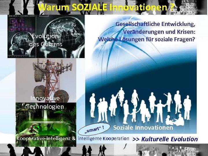 Warum SOZIALE Innovationen ? Evolution des Gehirns Gesellschaftliche Entwicklung, Veränderungen und Krisen: Welche Lösungen
