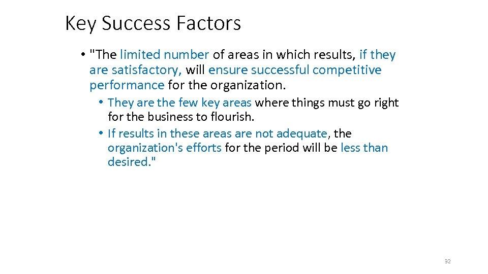 Key Success Factors •