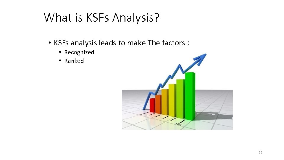 What is KSFs Analysis? • KSFs analysis leads to make The factors : •