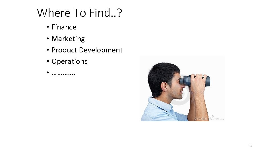 Where To Find. . ? • Finance • Marketing • Product Development • Operations