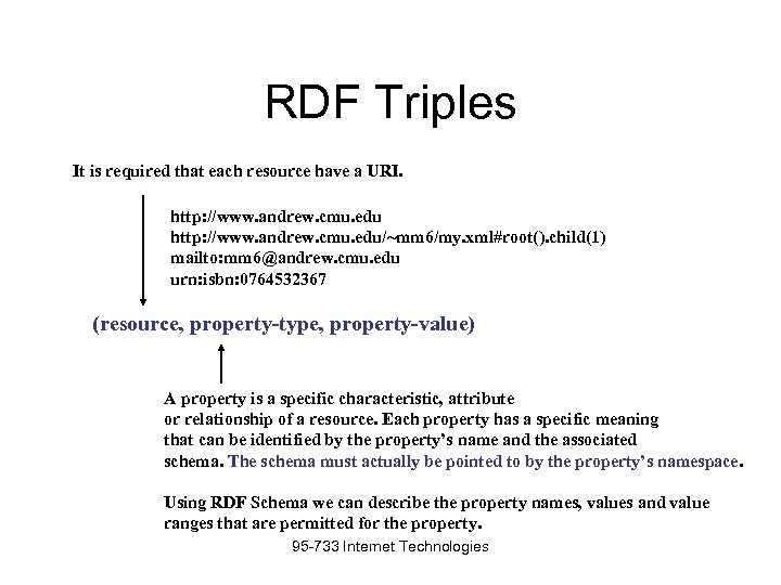 RDF Triples It is required that each resource have a URI. http: //www. andrew.
