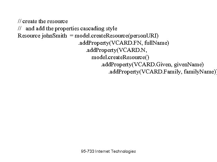 // create the resource // and add the properties cascading style Resource john. Smith