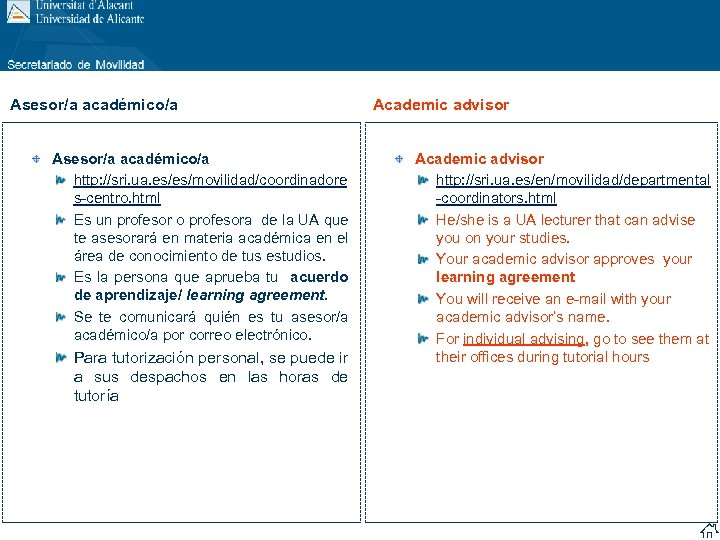 Asesor/a académico/a http: //sri. ua. es/es/movilidad/coordinadore s-centro. html Es un profesor o profesora de