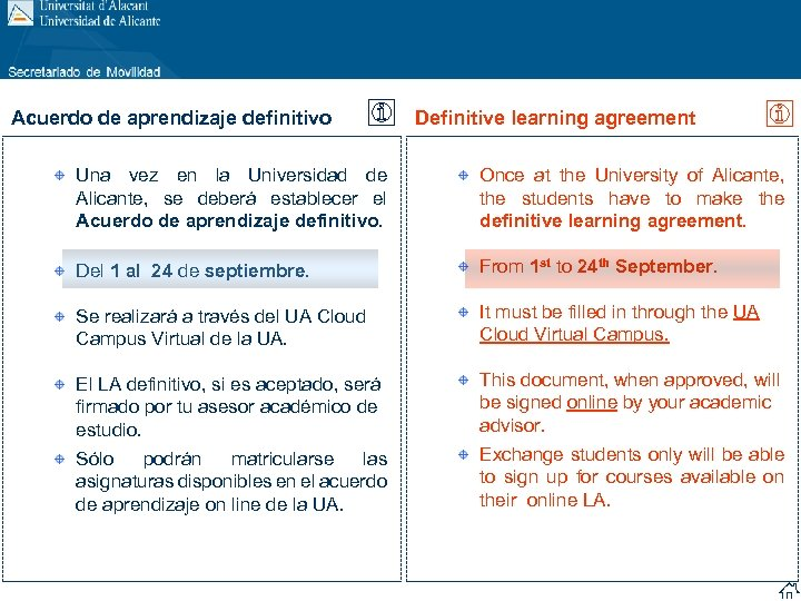 Acuerdo de aprendizaje definitivo Definitive learning agreement Una vez en la Universidad de Alicante,