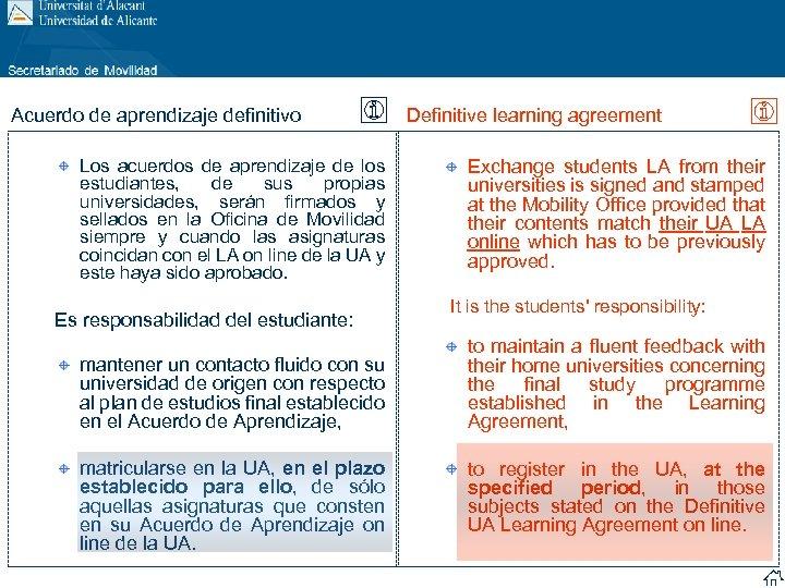 Acuerdo de aprendizaje definitivo Los acuerdos de aprendizaje de los estudiantes, de sus propias