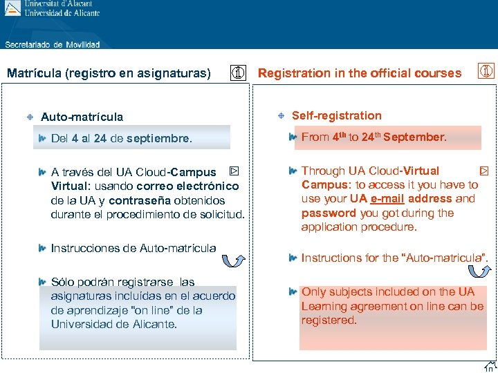 Matrícula (registro en asignaturas) Auto-matrícula Registration in the official courses Self-registration Del 4 al